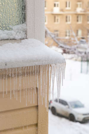 icicles on the facade of a close up