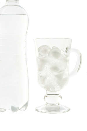 viability: Mineral water in a glass and bottles