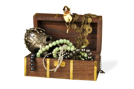 Decorative casket with costume jewellery on the white isolated background photo