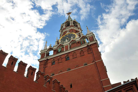 Bottom view of the Spassky Tower of Moscow Kremlin and clock tower with chimes photo