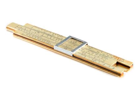 logarithm: Old Soviet-made pocket slide rule mechanical calculator isolated on white