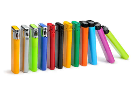 Colorful lighters isolated on white background  photo