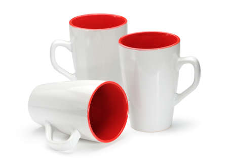 Three white-red cups isolated on white background  photo