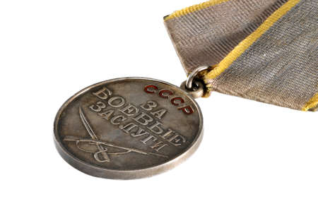 Moscow, Russia - April 20, 2014   Soviet medal for Battle Merit  Medal for Soviet soldiers