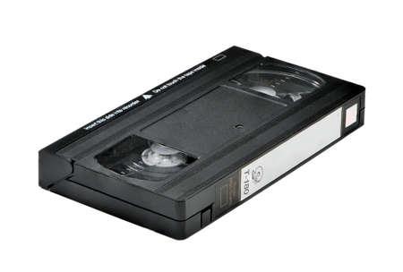 videocassette: Cinta de v�deo aisladas sobre fondo blanco. Fotografiado en un �ngulo