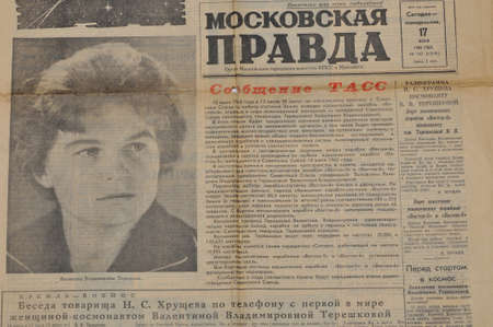 tereshkova: MOSCOW, USSR - JUNE 17  Front page of the Soviet newspaper  Moscovskaya Pravda  with reporting about first woman in Space  Flight was on June 14-19, 1963