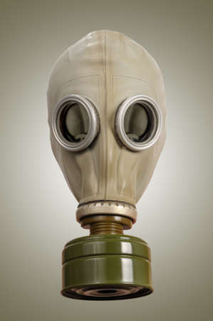 Gas mask on a gray background  photo