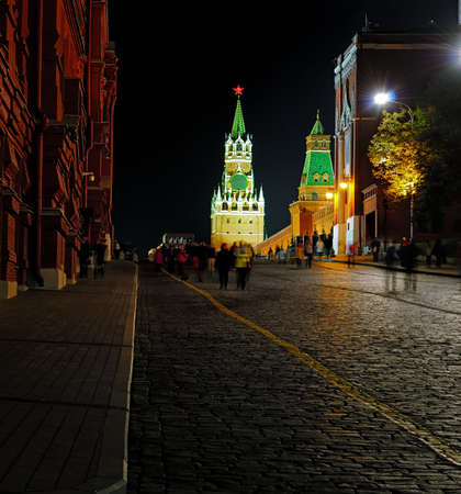spasskaya: Night view of the Red Square, Spasskaya Tower of the Moscow Kremlin, pavement from a cobblestone Stock Photo