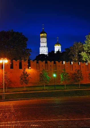 ivan: Night View of the Kremlin wall, cobblestone pavement, Ivan the Great Bell Tower