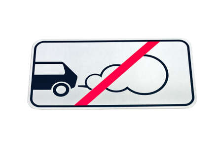 forbidding: Road sign forbidding parking of cars with the working engine isolated on white background Stock Photo