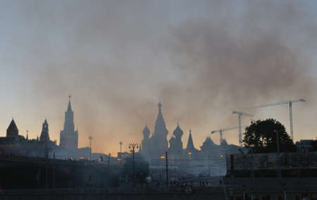 spassky: Smoke over Red Square and the Moscow Kremlin after festive fireworks. Stock Photo
