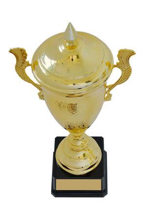 primer lugar: copa de metal adjudicación del color del oro para el ganador para el primer lugar está aislado en un fondo blanco. Vista superior.