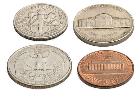 five cents: US coins isolated on a white background: one cent, five cents, ten cents. twenty-five cents