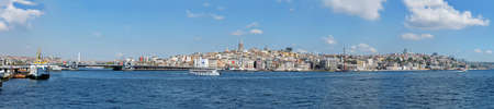 ISTANBUL, TURKEY - SEPTEMBER 14, 2016: Extra wide panoramic photo of city. Summer cityscape from the embankment of the Golden Horn bay.