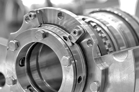 worm gear: Steel parts for industrial machinery round shape. Black and white toning. Close up. Stock Photo