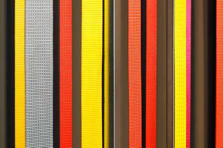 Gelb, grau, rot, lila Stoff Bänder als Hintergrund Lizenzfreie Bilder