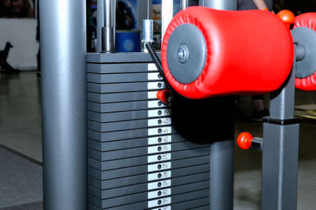Part of the weight training equipment  with metal blocks for training in the sports club