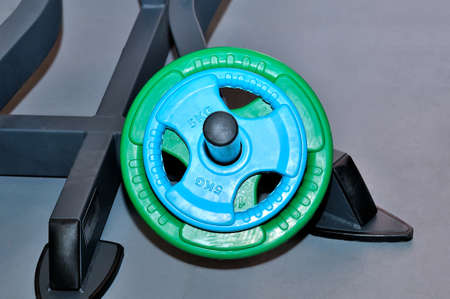 Green and blue barbell plates with the inscription of 5 and 10 kg on a metal stand