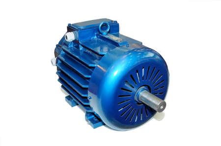 Neue blaue Elektromotor isoliert auf weißem Hintergrund.