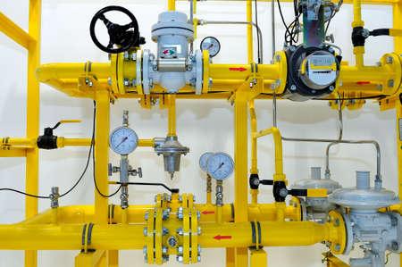 Pressure meters on natural gas pipeline.