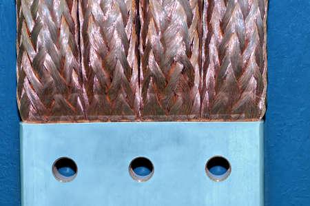 Copper electric bus busbar close-up. Shallow depth of field Lizenzfreie Bilder
