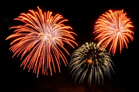 Flashes of fireworks of red and golden color against the black sky