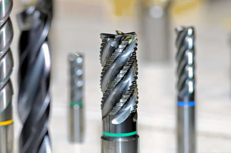 New modern industrial drills and mills of the different sizes. Small depth of sharpness