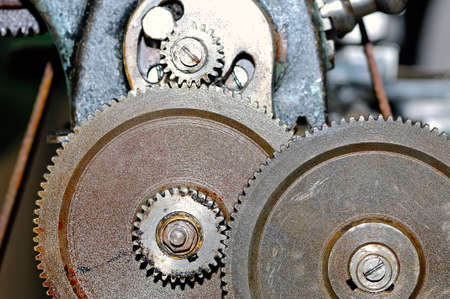 Rusty gears of the old industrial mechanism.