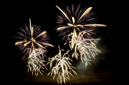 Weißes und purpurrotes Feuerwerk auf schwarzem Himmelhintergrund Standard-Bild