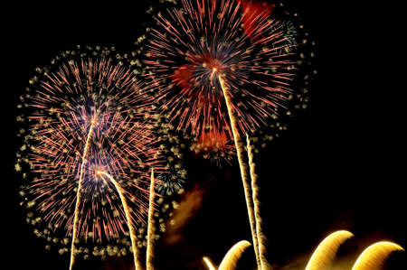 Flashes of colorful firework salute on the black sky