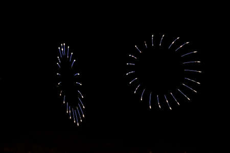 An unusual salute fireworks in the form of petals of blue and white colors in the black night sky