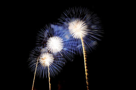 Flashes of fireworks of white and blue color against the black sky