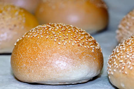 White bread loaves sprinkled with sesame seeds. Small depth of sharpness.