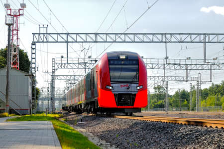 MOSCOW, RUSSIA - JULY 31, 2017: Train of the Moscow central railway circle - MCC, called Lastochka (Swallow in English) goes along the route