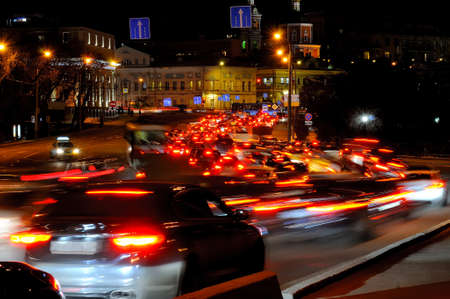 Evening traffic jam in Moscow on one of streets in the downtown. Cars are blurred in motion