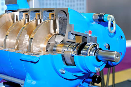 Sample of the industrial rotor engine of blue color in a section Standard-Bild