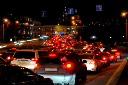 Evening traffic jam in Moscow on one of streets in the downtown