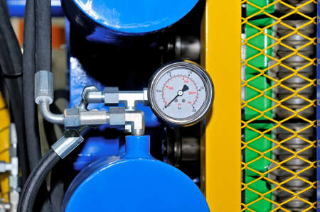 Equipment on the gas pipeline with pipes, pressure meters for pumping and processing of natural gas