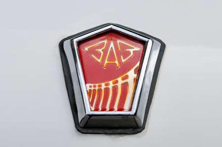 Moscow, Russia - August 27, 2017: Trademark, avto zaz logo on the retro Soviet car called Zaporozhets