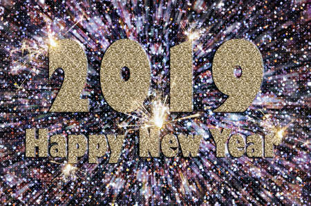 Happy new year 2019 text of silver color on a  with colored crystals