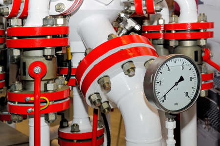 Equipment with tubes, pressure meters and measuring devices for pumping and processing of natural gas, natural gas pipeline.
