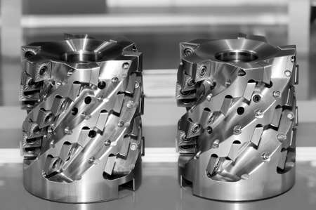 New modern industrial cutters. Cutting tools. Black and white toned image. Shallow depth of field