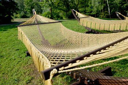 Rope hammocks on wooden supports in the park.