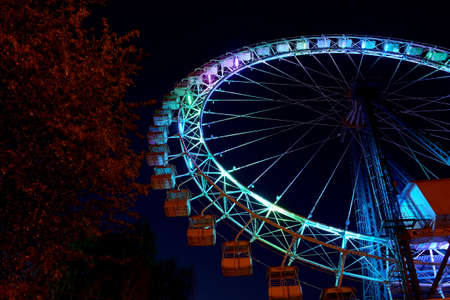 Part of ferris wheel with blue lighting and trees against a night dark sky Stok Fotoğraf