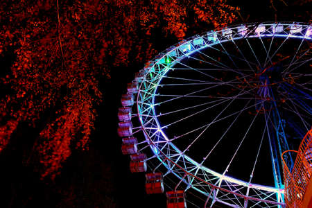 Part of ferris wheel with multicolor lighting and trees against a night blue sky