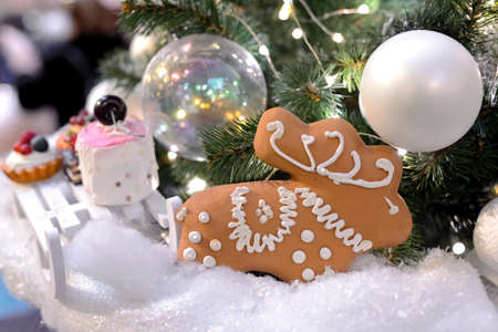 Christmas gingerbread and toys on Christmas and New Year tree