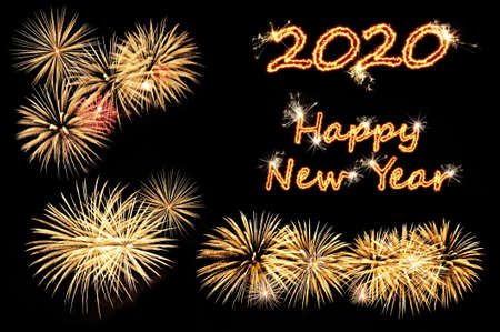 New year 2020 greeting card with flash letters Happy new year 2020 and gold fireworks on a black
