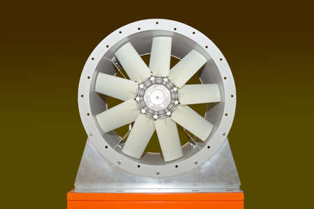 Large electric industrial fan isolated on a green 스톡 콘텐츠