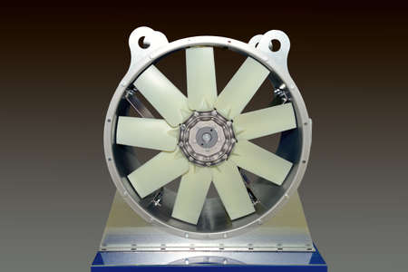 Large electric industrial fan on a gray 스톡 콘텐츠