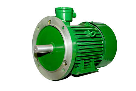 New green electric industrial motor isolated on white background.